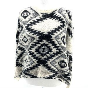 Sweaters - Snuggly Black and White Aztec Pattern Sweater